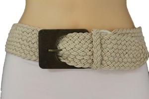 Other Women Belt Hip Waist Big Square Wood Buckle Off White Braided