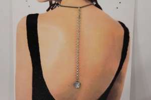 Women Back Pendant Necklace Silver Chains Fashion Jewelry Big Heart Rhinestones