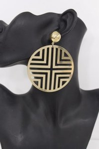 Women Gold Big Round Hoop Hook Earring Geometric Metal Cut Out Cross Fashion