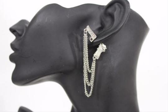 Other Women Double Sided Gun Earrings Gold Silver Chains Rhinestones