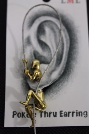 Other Women Antique Gold Double Sided Fisherman Earring Stud