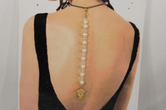 Other Women Back Pendant Necklace Jewelry Gold Jesus Christ Pearl