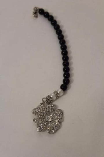 Other Women Back Pendant Necklace Silver Metal Jewelry Flower Black Bead