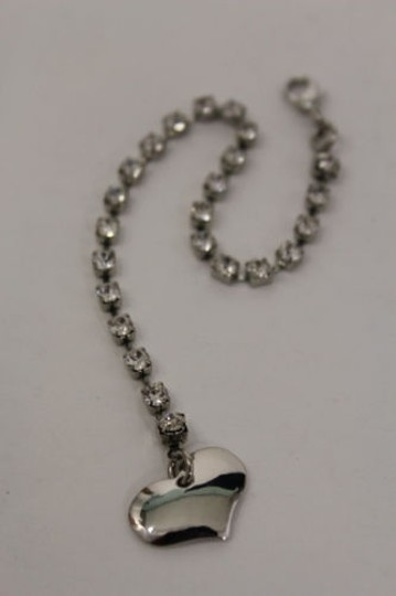 Other Women Back Pendant Necklace Silver Metal Chains Heart Rhinestone