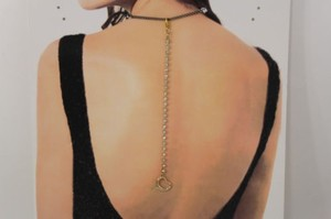 Other Women Back Pendant Necklace Gold Metal Chains Fashion Jewelry Heart Rhinestones
