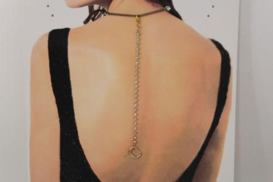 Other Women Back Pendant Necklace Gold Metal Chains Heart Rhinestones