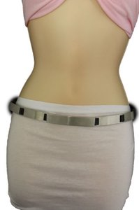 Other Women Silver Metal Plate Fashion Belt Long Buckle Hip Waist Skinny Narrow