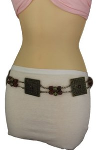Women Tie Belt Hip Waist Brown Beads Antique Gold Metal Plate Fashion