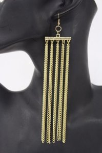 Women Silver Gold Long Thin Fringe Chains Fashion Metal Dangle Hook Earrings