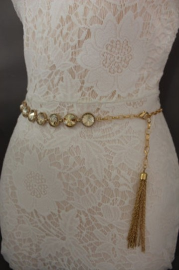 Other Women Skinny Fashion Belt Hip High Waist Gold Metal Chains Bead Charms