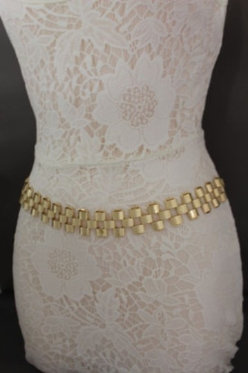 Other Women Metal Belt High Waist Hip Gold Wide Mesh Chain Link Strands