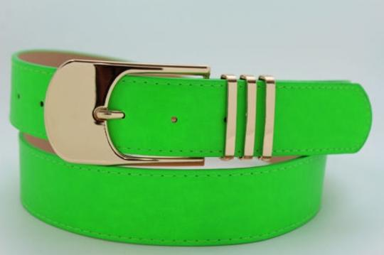 Other Women Belt Black Brown Bright Colors Red Pink Green Gold Metal Buckle