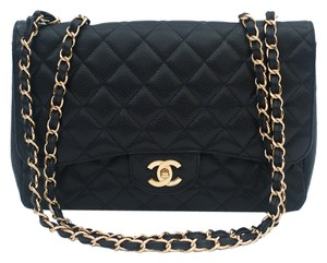 Chanel Jumbo Caviar 2.55 Leather Quilted Gold Tone Hardware Logo Chain Braided Woven Classic Shoulder Bag