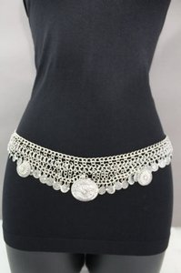 Other Women Belt Hip Waist Vintage Silver Multi Coins Metal Charm Chain Fashion
