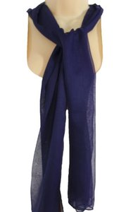 Other Women Classic Fashion Soft Fabric Neck Scarf Long Necklace Dark Blue Navy