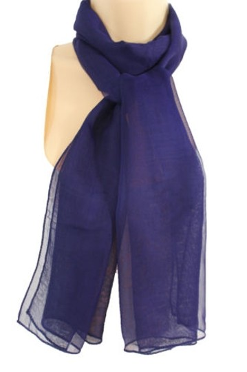 Other Women Classic Fabric Neck Scarf Long Necklace Dark Blue Navy