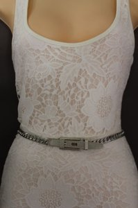 Other Women Belt High Waist Hip Silver Metal Chunky Chain Long Buckle