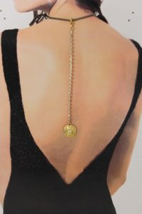 Other Women Back Pendant Necklace Gold Metal Chain Fashion Jewelry Rhinestone Lion