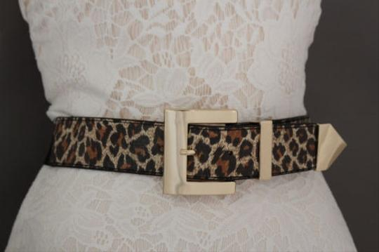 Other Women Classic Belt Casual Black Brown Leopard Gold Metal Buckle Plus