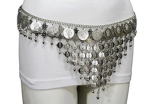 Other Women Belt Hip Silver Chains Coins Charm Metal Belly Dancing Bells