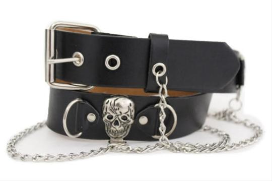 Other Women Silver Metal Chains Skulls Studs Black Faux Leather Fashion Belt
