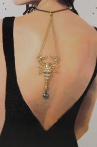 Women Back Pendant Necklace Metal Chain Fashion Jewelry Big Gold Scorpion