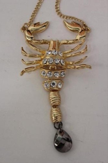 Other Women Back Pendant Necklace Metal Chain Fashion Jewelry Big Gold Scorpion