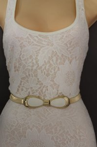 Other Women Belt Hip High Waist Elastic Gold Metal White Bow Buckle Fashion