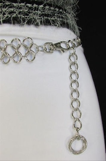 Other Women Silver Metal Chunky Thick Infinity Link Belt Hip Waist