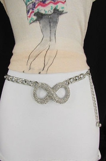 Other Women Fashion Belt Waist Hip Narrow Silver Metal Chain Infinity Charm
