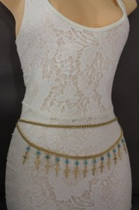 Women Metal Chain Belt High Waist Side Hip Gold Cross Turquoise Bead