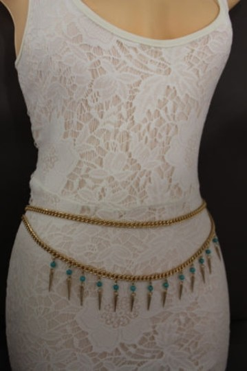Other Women Chain Belt High Waist Side Gold Spikes Turquoise Bead