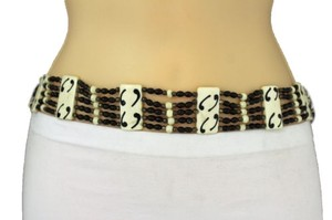 Other Women Beige Hawaiian Wood Plates Fashion Tie Belt Leaves Beads