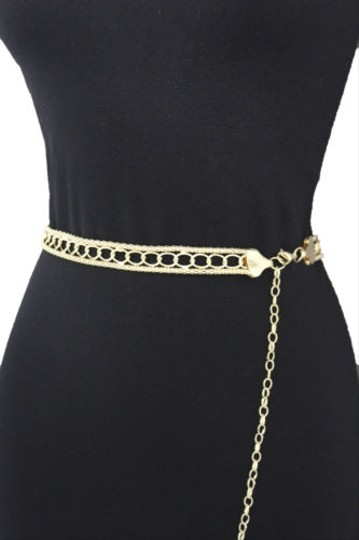 Other Women Belt High Waist Hip Gold Metal Chains Links Skinny Fashion Plus
