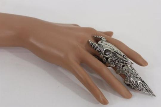 Other Women Men Knuckle Antique Silver Ring Bull Skull Horns Fashion