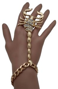 Other Women Gold Scorpion Hand Chain Bracelet Slave Ring Connected Rhinestones