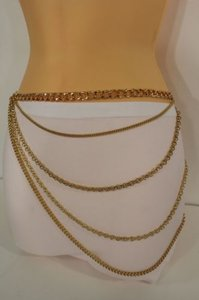 Women Gold Fashion Belt Metal Thick Chains Link Side Hip Strands