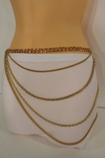 Other Women Gold Fashion Belt Metal Thick Chains Link Side Hip Strands