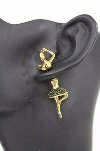 Women Antique Gold Double Sided Ballerina Dancer Earring Metal Fashion Stud