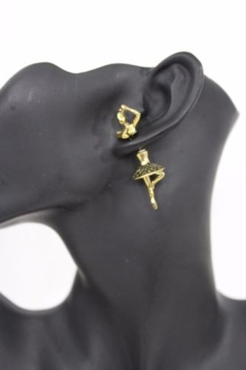 Other Women Antique Gold Double Ballerina Dancer Earring Metal Fashion Stud