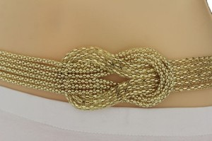 Women Gold Mesh Braided Metal Fashion Belt Hip High Waist Regular