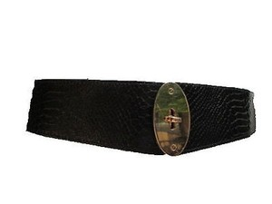 Women Black Waist Hip Fashion Belt Elastic Snake Skin Gold Buckle