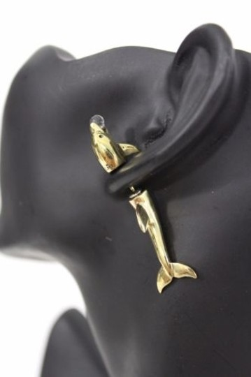 Other Women Double Sided Earring Antique Gold Playing Dolphin Stud