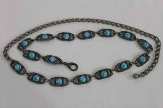 Other Women Silver Metal Skinny Belt Turquoise Blue Beads Hip Waist