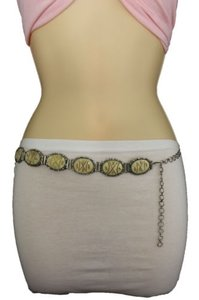 Other Women Fashion Belt Waist Silver Metal Ivory Cream Circles Round