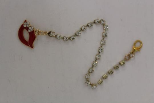 Other Women Back Pendant Necklace Gold Metal Chain Fashion Jewelry Beads Red Lips Kiss
