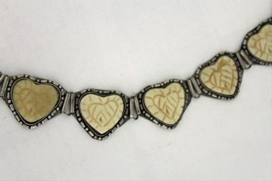 Other Women Waist Silver Metal Fashion Belt Beige Ivory Color Hearts