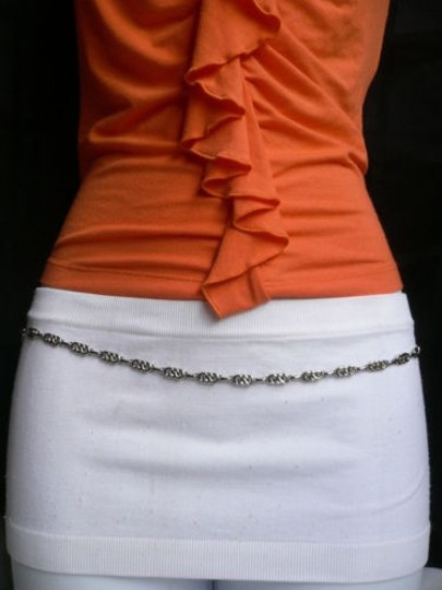 Other Women Silver Metal Ultra Thin 0.25 Fashion Metal Chains Belt