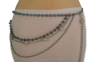 Other Women Fashion Belt Silver Metal Chains Blue Cream Pearl Beads