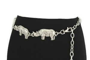 Other Women Belt Fashion Waist Hip Silver Chains Metal Rhino Animal 25-37